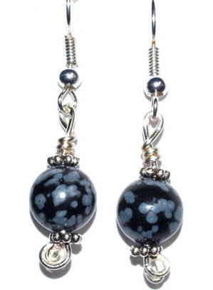 Snowflake Obsidian dangle earrings