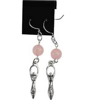 Rose Quartz Goddess Earrings