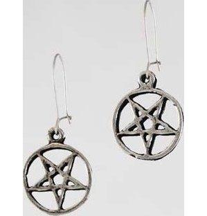 Wire-Hooked Inverted Pentagram Earrings