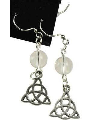 Quartz Triquetra Earrings