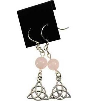 Rose Quartz Triquetra Earrings