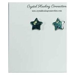 Moss agate stud earrings