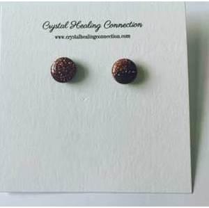 Red goldstone stud earrings
