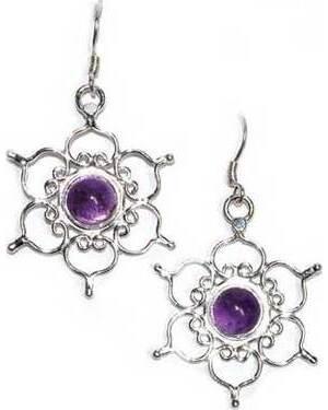 """1.25"""" Lotus amethyst earrings"""