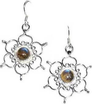 "1.25"" Lotus labradorite earrings"