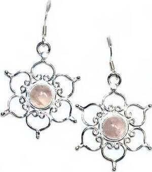 """1.25"""" Lotus rose quartz earrings"""