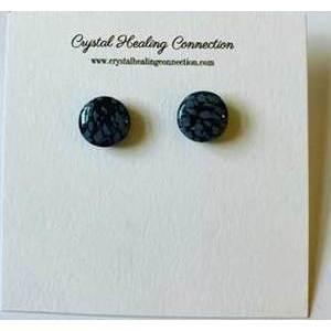 Snowflake obsidian stud earrings