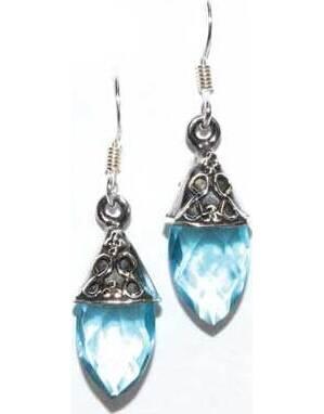 Teardrop blue topaz earrings