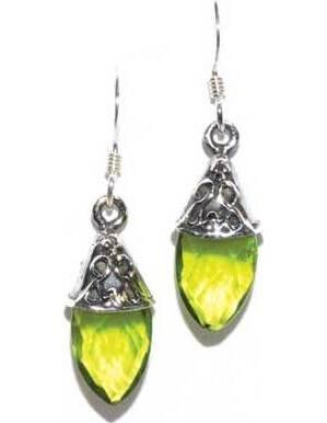 Teardrop peridot earrings
