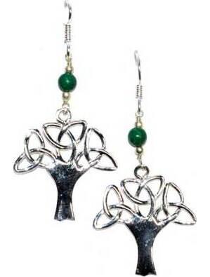 """1.25"""" tree malachite earrings"""