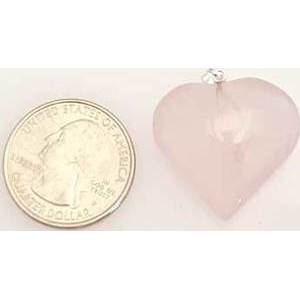 "1"" Rose Quartz Heart Pendant"