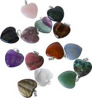 "3/4"" (20mm) various Stones heart"