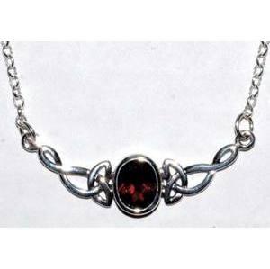 Celtic Oval Garnet necklace sterling