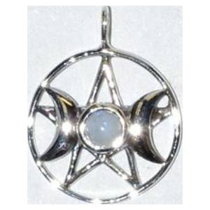 Triple Goddess Pentagram Moonstone sterling 11/16""
