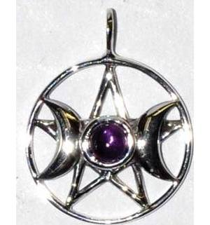 "11/16"" Triple Goddess Pentagram Amethyst sterling"