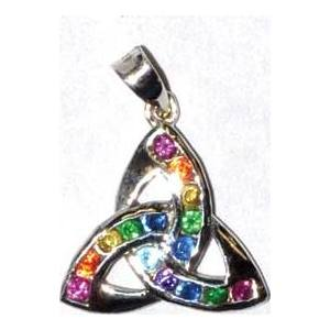 "3/4"" Triquetra, Rainbow sterling"