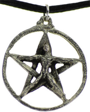 "1"" Pentagram with Crescent Moons Necklace"