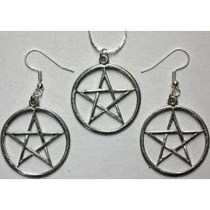 Pentacle Earrings and Necklace Set