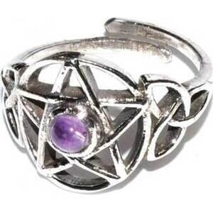Pentacle amethyst adjustable ring