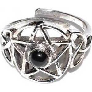 Pentacle black stone adjustable ring