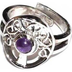Tree amethyst adjustable ring