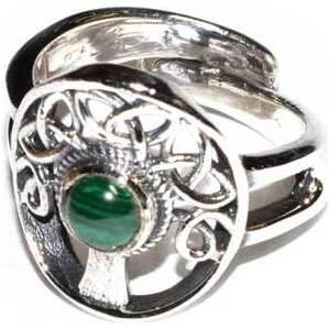 Tree malachite adjustable ring