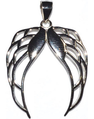 "1 1/4"" Pair Angel Wings sterling pendant"