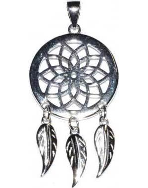 "3/4"" Dreamcatcher sterling pendant"