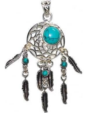 Dreamcatcher turquoise pendant