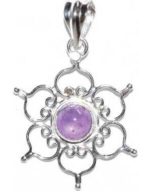 "1.25"" Lotus amethyst pendant"
