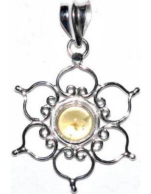 """1.25"""" Lotus citrine pendant"""