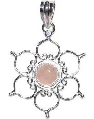 """1.25"""" Lotus rose quartz pendant"""