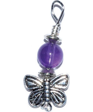 Butterfly pendant with amethyst bead