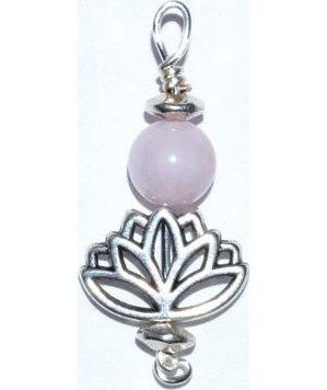 Lotus pendant with rose quartz bead
