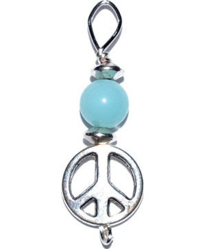 Peace pendant with amazonite bead