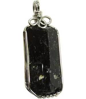 Black Tourmaline Wire Wrapped Pendant