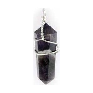 Amethyst Wire Wrapped Pencil Pendant