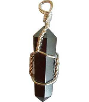Wire Wrapped Hematite Point Pendant