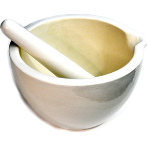 "9"" Mortar/Pestle white ceramic"