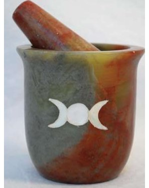 Pearl Inlaid Triple Moon Mortar & Pestle