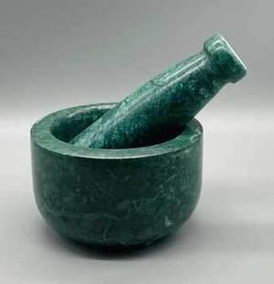 "4"" dia X 2.5"" Green Marble mortar & pestle set"