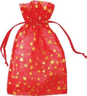 "4"" x 5"" Red Organza Bag with Gold Stars"