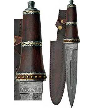 Dirk Wood Damascus Athame