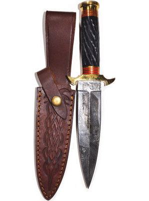 "10 1/2"" Twisted Horn Damascus athame"