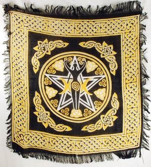 "Pentagram Goddess Altar Cloth 18"" x 18"""