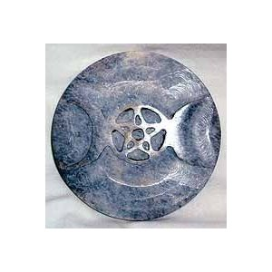 Soapstone Triple Moon Tile 3""