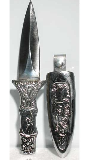 Engraved Silver Boot Athame 6""