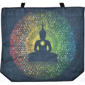 """14"""" x 16"""" Buddha jute tote bag"""
