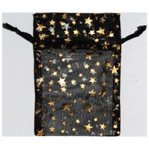 "2 3/4"" x 3"" Black Organza Bag with Gold Stars"