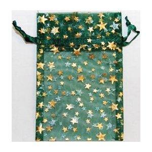 "2 3/4"" x 3"" Green Organza Bag with Gold Stars"
